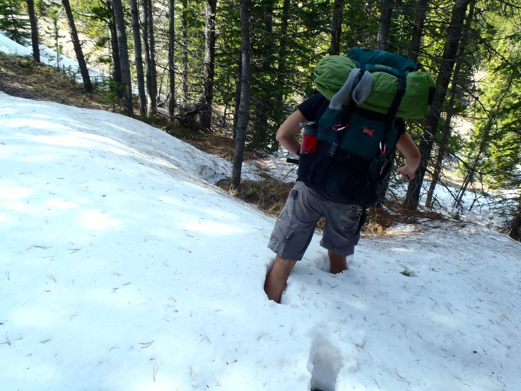 Tyler hiking in snow